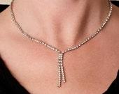 Vintage Rhinestone Y Necklace