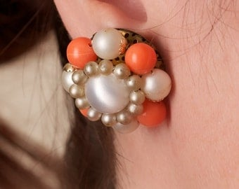 Vintage Orange and White Clip On Earrings Marked Japan