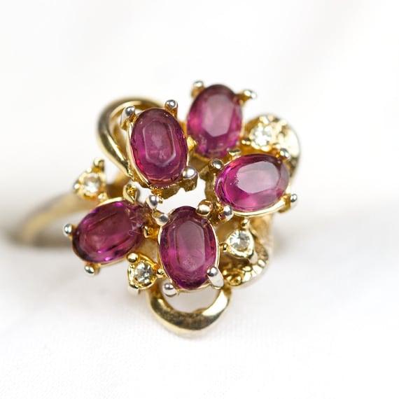 Vintage Amethyst 14k Gold Electroplate Cluster Ring