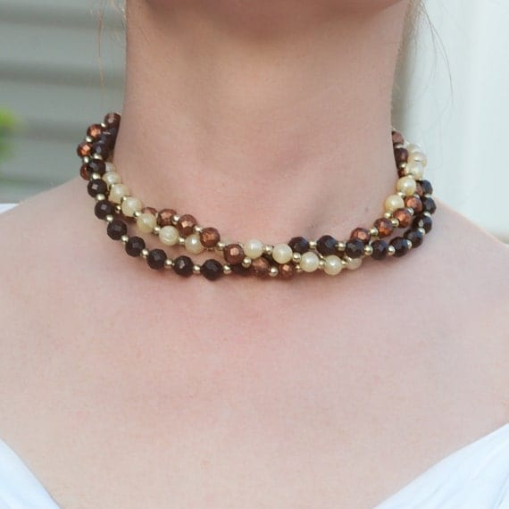 Vintage Brown and Cream Bead Necklace Three Strand Choker