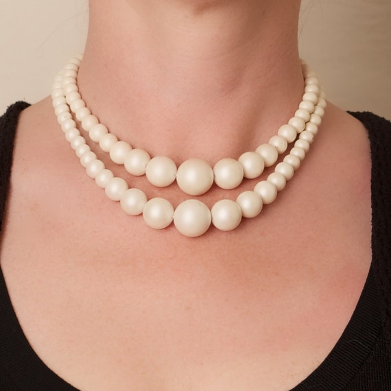 Vintage White Double Strand Graduated Bead Choker