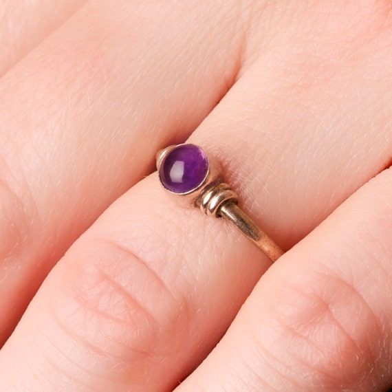 Amethyst Bezel Set Cabochon Ring in Sterling Silver