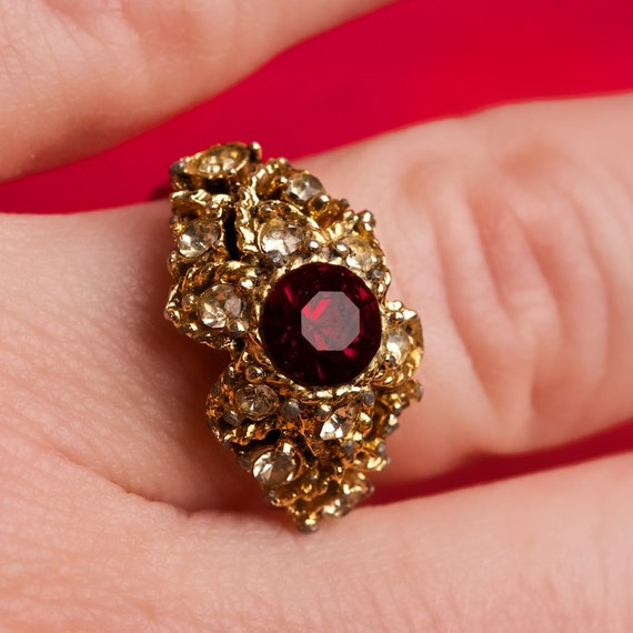 Vintage Ring Red Gemstone Adjustable with Rhinestone Accents