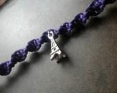 Purple Eiffel Tower Hemp Bracelet