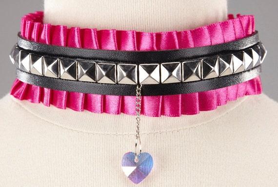 Clearance Gothic Lolita Collar- Pyramid Studs w Rainbow Translucent Heart Charm on Hot Pink Pleated Ribbon- Scene, Punk, Visual Kei, Kawaii
