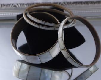 Vintage Boho Mother of Pearl and Brass Four Piece Bracelet Set