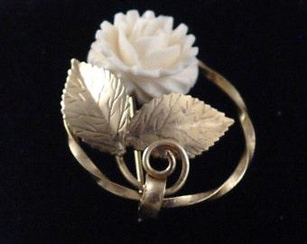 Vintage Signed K.L. Gold and Faux Ivory Rose Brooch 12 Carat Gold Filled