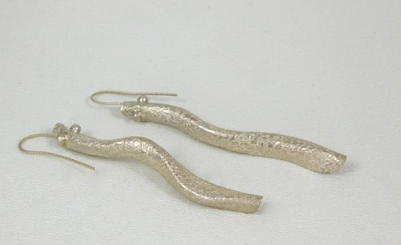 Contemporary Snake Earrings Sterling Silver Form Fold
