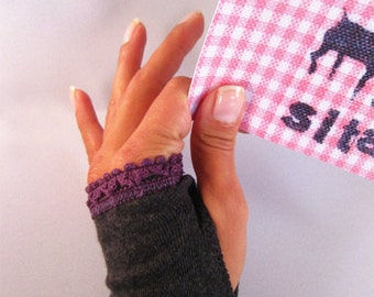 Arm warmers, fingerless gloves with thumb hole in grey lace top in purple