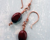 Earrings Copper. Red Stones, Pounded Copper Spirals, Handmade Ear Wires