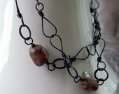 Long Copper Chain, Patina, Handmade, Jade and Tan Stones, Slip On