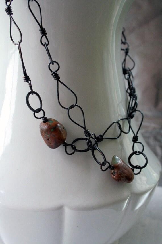 Long Copper Chain, Patina, Handmade, Jade and Tan Stones, Slip On