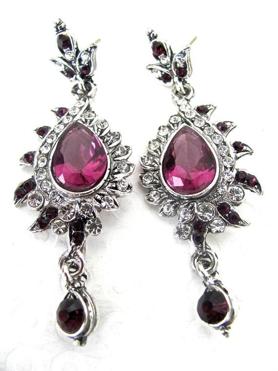 Purple Earrings, Vintage Earrings, Chandelier Earrings, Victorian, Bridal Earrings, Wedding Jewelry, Purple Pink Earrings, Amethyst