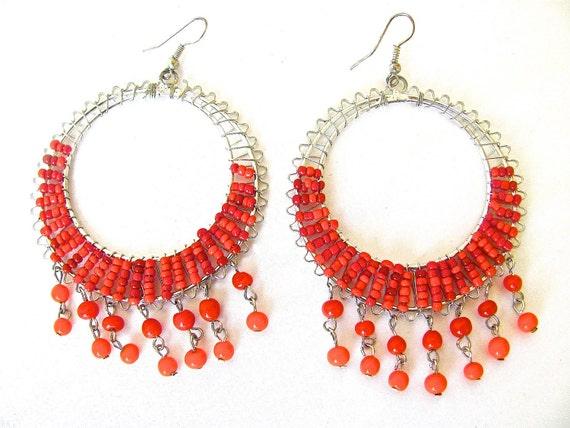 Red and Orange Beaded Wire Wrap Hoop Earrings, Red Hoop Earrings, Big Hoop Earrings, Gifts for Mom