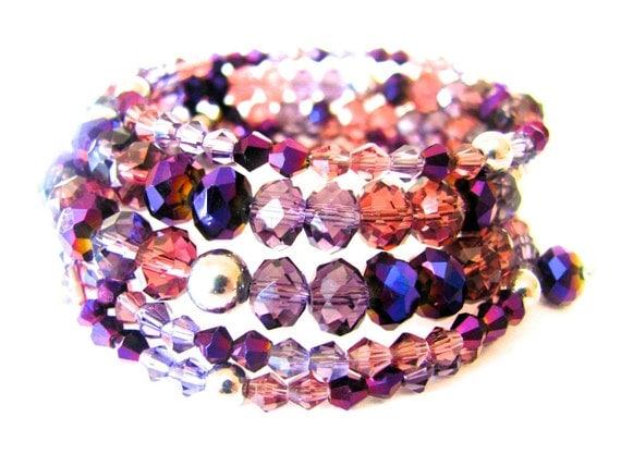 Purple Pink Beaded Bracelet, Purple Bracelet, Amethyst, Swarovski Bracelet, Beaded, Coil, Wrap, Stretch, Multistrand, Purple and Pink