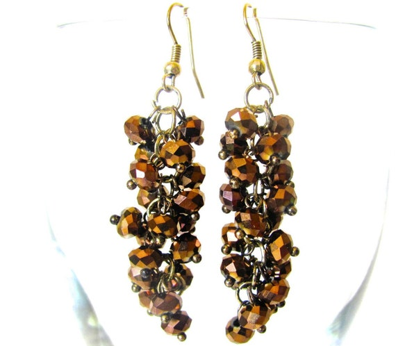 Brown and Gold Earrings, Cluster Earrings, Beaded, Brown Earrings, Bronze, Copper, Gold, Dangle, Long Crystal Earrings, Lightweight