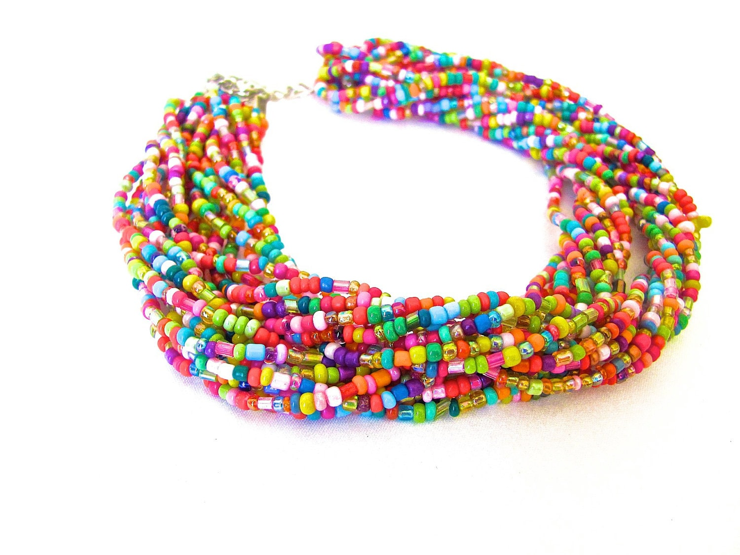 multicolored seed bead chunky necklace multistrand beaded