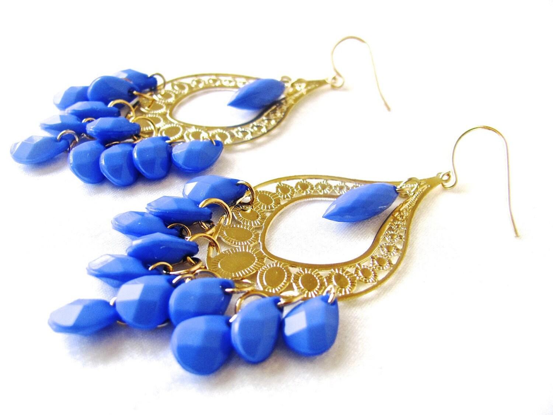 Blue Chandelier Earrings Royal Blue Earrings Blue and Gold:🔎zoom,Lighting