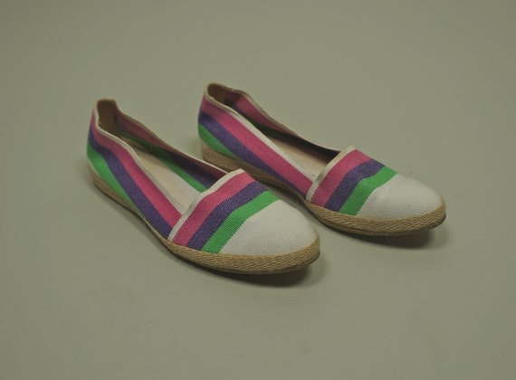Vintage 80s Stripped Espadrilles// Woven Slip Ons// Size 7.5