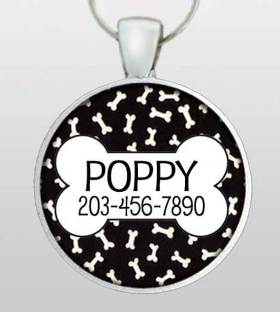 Custom Pet ID Tag - Dog Tag - Custom name & phone number. Black with white dog bones. Design No. 108