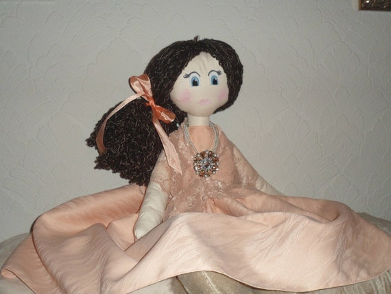 "Handmade 31"" Old Fashioned Cloth Rag Doll with Beautiful Detail"