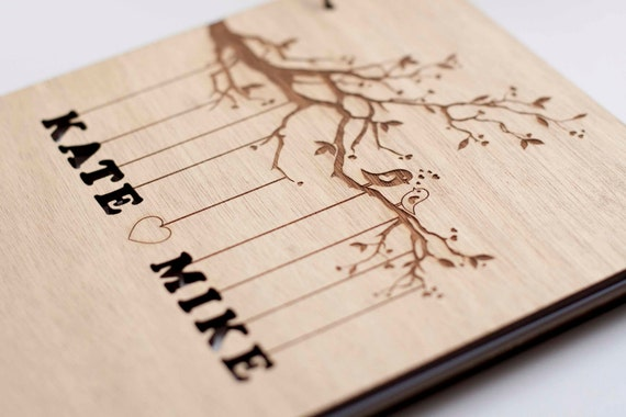 rustic wood engraved customizable wedding guest book