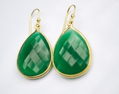 Emerald Green Onyx Earrings- Green Onyx Earrings- Large Green Onyx Earrings- Stone Earrings-Bridesmaid Earrings-Free Shipping