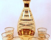Mad Men Era Decanter Set  Czech Bohemia Amber Glass