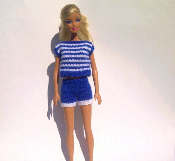 Hand Knitted Blue and White Striped Short Set for Barbie