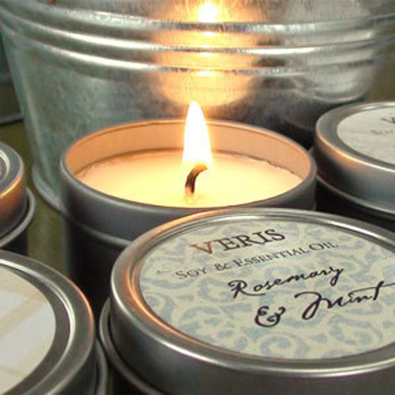 Wedding Favor Soy Candle Tin by Veris SAMPLE