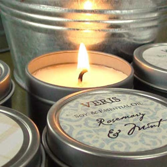 Wedding Favors Candle, Personalized, Custom Wedding Favor, Tin, Natural Soy,  Veris SAMPLE