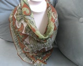 White, Green and Bronze Paisley Scarf
