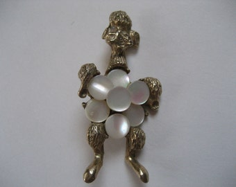 Unique Mother of Pearl Poodle Brooch