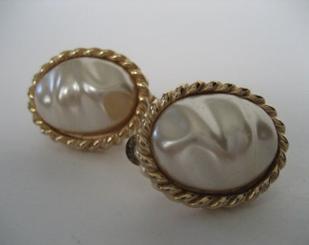 Gay Boyer Ripple Faux Pearl Earrings