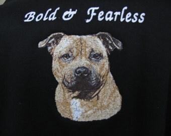 """Embroidered """"Pit Bull Terrier"""" Hoodie Sweatshirt"""