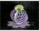 Lavender Crocheted Egg with Yellow Flower Accent & a Lavender and Yellow Doilie