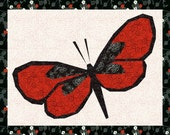 Beautiful Butterfly Foundation Paper Piecing  Pieced Quilt Block Pattern Download PDF Red Asian Black Butterflies