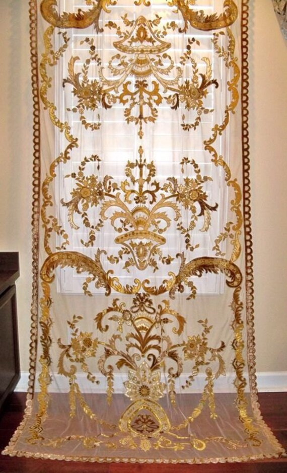 Italian embroidered velvet fabric sheer drapes by