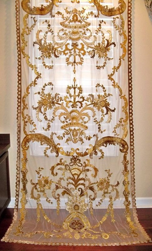 Italian Embroidered Velvet Fabric Sheer Drapes Panel Gold