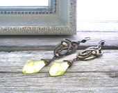 Czech Yellow Victorian Vintage Russian Glass Earrings