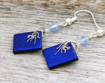 Sale  Blue Diacroic Swarovski crystal watch parts earrings