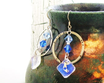 Sale   Blue Iridescent Diachroic Glass & Blue Swarovski Crystal - Abstract watch parts - Industrial French - Dangle Earrings