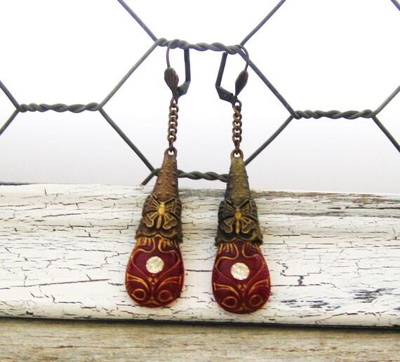 Vintage Victorian Butterfly Red Russian Czech Glass Earrings