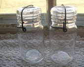 2 Vintage Wheaton Jars Clear Small with Wire Bails and Glass Lids B1077