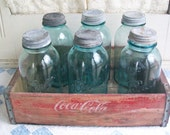 1 Vintage Mason Jar Aqua Colored Half Gallon Ball Perfect LID NOT INCLUDED