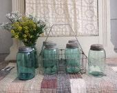 1 Antique Blue Mason Jar Aqua Quart Sized Lid Not Included