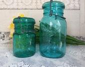 2 Vintage Reproduction Ball Ideal Bicentennial Aqua Blue Jars Pint and Quart Sized B771