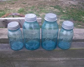 4 Vintage Aqua Blue Ball Perfect Mason Jars 2 Half Gallon Sized 2 Quart Sized with Zinc Lids