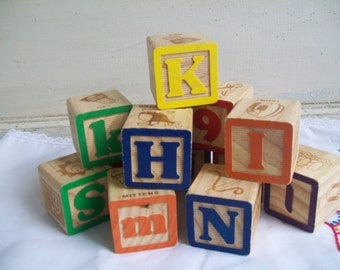 Vintage Toy Block Set of 6 Larger Blocks