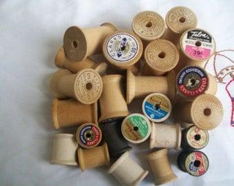 12 Vintage Thread Spools Smaller Sized